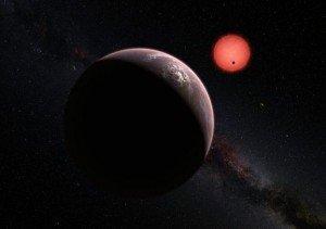 Concepção artística do sistema Trappist-1, com três planetas em volta de uma estrela mais fria que o Sol
