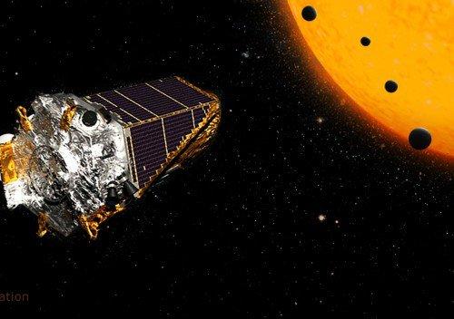 Concepção artística do observatório Kepler, da Nasa, em sua missão no espaço