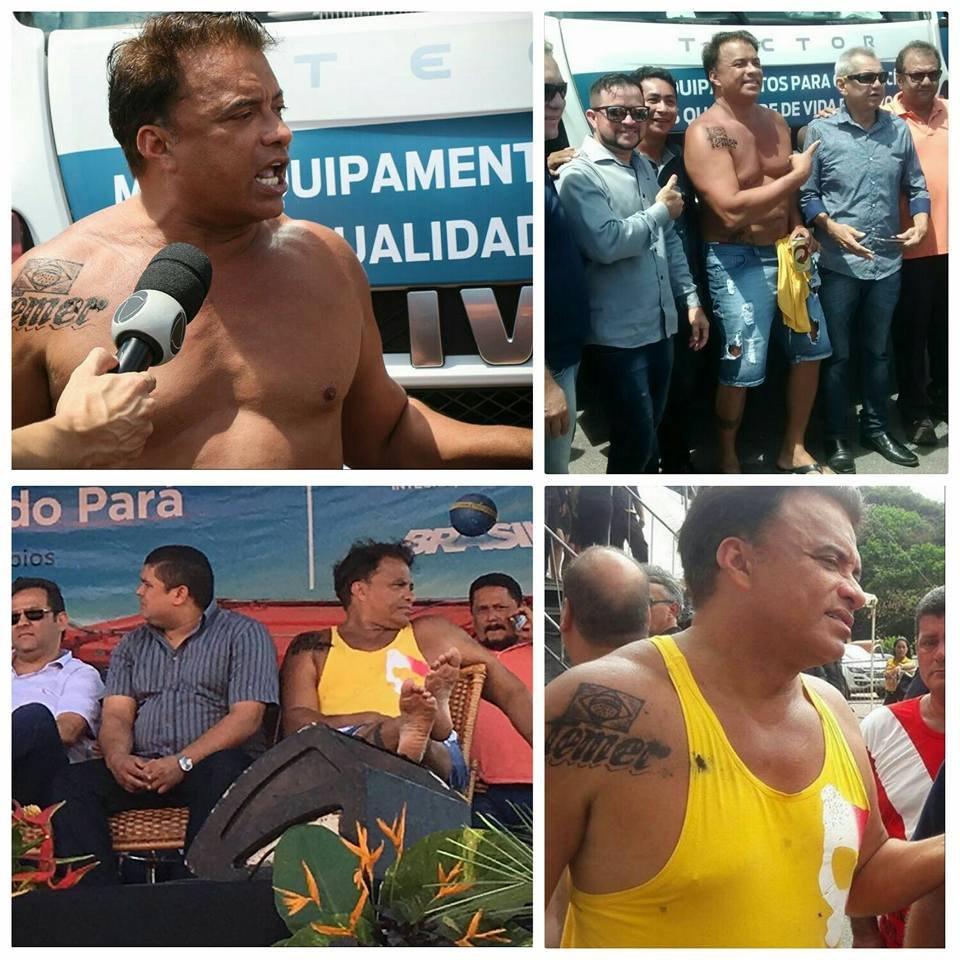 Deputado gastou R$ 1,2 mil para tatuar nome de Temer no ombro