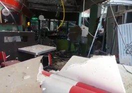 Rastro de destruição após bandidos atacarem posto de combustível na RS-122