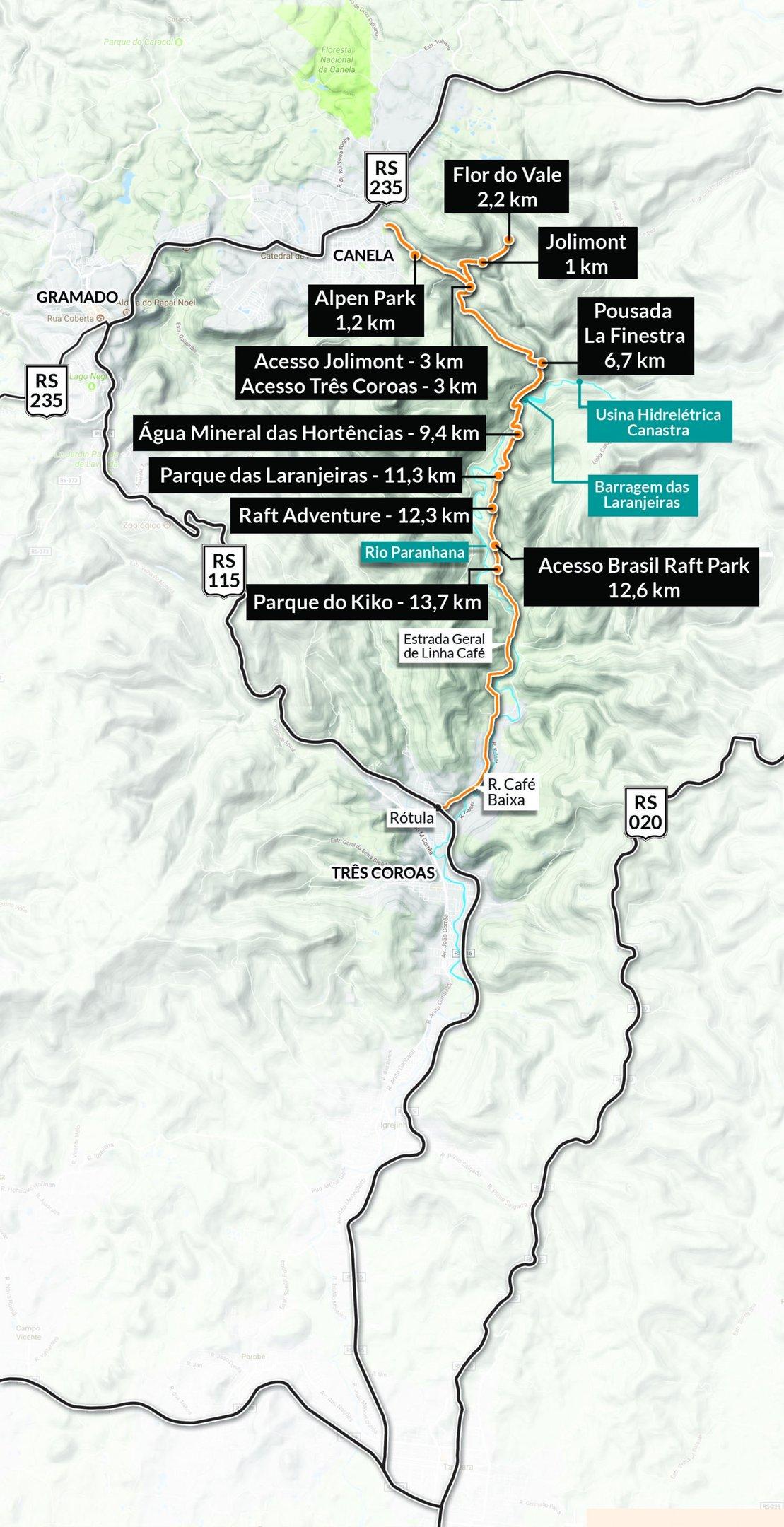 Mapa Canela rio paranhana